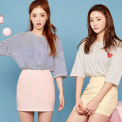chuu - Boxy Striped T-Shirt