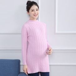 Ohayo - Maternity Cable Knit Long Sweater