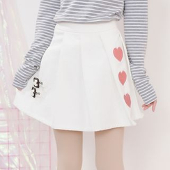 Moriville - Heart Embroidered A-Line Skirt