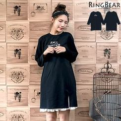 RingBear - Long Sleeve Printed T-Shirt Dress