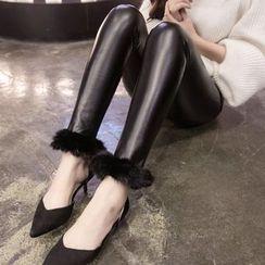 Cerulean - Faux-Leather Furry-Trim Leggings