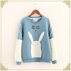 布衣天使 - 小兔抓毛拼接衛衣