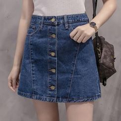 Denimot - Buttoned A-Line Denim Skirt
