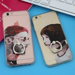 Cartoon Face - Printed Case with Mobile Ring - Apple iPhone 5 / 6 / 6 Plus