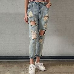 Queen Bee - Distressed Harem Jeans