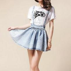 Fashion Street - Denim Suspender Skirt