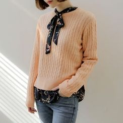 WITH IPUN - Round-Neck Cable Knit Top