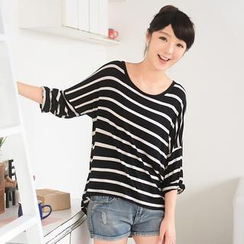 59 Seconds - Striped Long-Sleeve Dip-Back Top