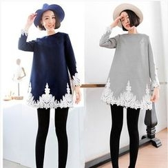 Sienne - Lace Trim Long Sleeve Shift Dress