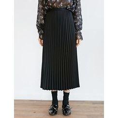 FROMBEGINNING - Band-Waist Pleated Long Skirt
