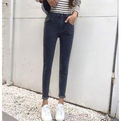 Ashlee - Plain High Waist Skinny Jeans