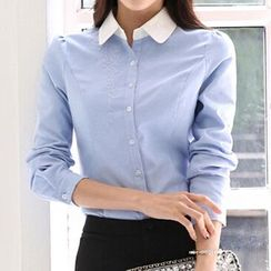 Caroe - Set: Long-Sleeve Blouse + Pencil Skirt / Dress Pants