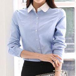 Caroe - Set: Long-Sleeve Blouse + Pencil Skirt / Dress Pants