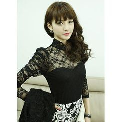 Dodostyle - Mock-Neck Long-Sleeve Lace Top