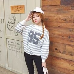 IndiGirl - Mock-Neck Striped Printed Pullover