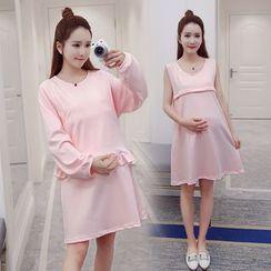 Soswift - Maternity Set: Plain Nursing Tank Dress + Frill Hem Pullover