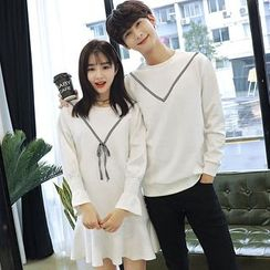 Azure - Couple Matching Chevron Sweatshirt / Long-Sleeve Dress