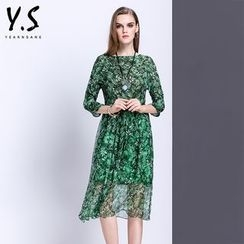 Y:Q - 3/4-Sleeve Leaf Print A-Line Dress
