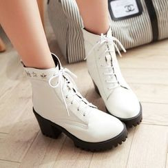 YOUIN - Chunky-Heel Platform Lace-Up Ankle Boots