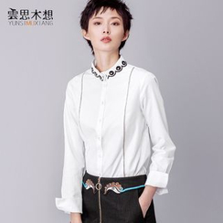 Cloudwood - Embroidered Collar Long-Sleeve Shirt