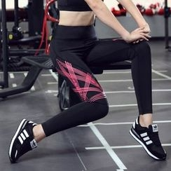 AT NINE - 条纹瑜伽裤