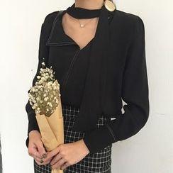 Dute - Buttoned Tie Neck Long Sleeve Blouse