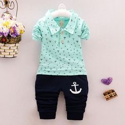 POMME - Kids Set: Anchor Print Long Sleeve Polo Shirt + Pants