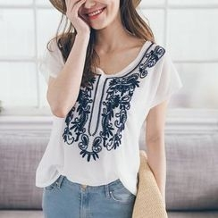 Tokyo Fashion - Embroidered Short-Sleeve Chiffon Top