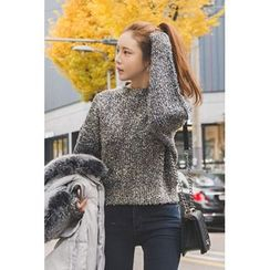 migunstyle - Round-Neck Furry-Knit Top