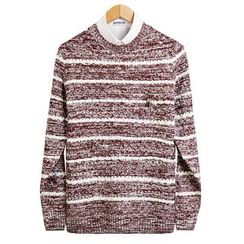 Seoul Homme - Round-Neck Stripe Knit Top