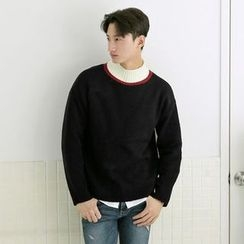 Seoul Homme - Color-Block Mock-Neck Sweater