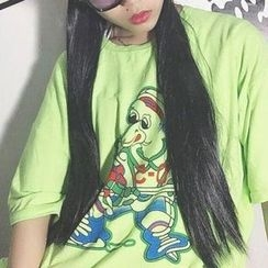 Cerauno - Printed Elbow-Sleeve T-Shirt