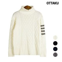 Seoul Homme - Turtle-Neck Contrasted Stripe Trim Sweater