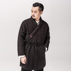Ashen - Chinese-Style Wrapped Jacket with Sash