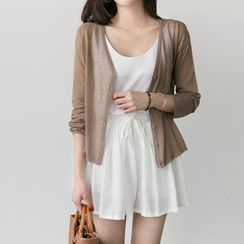 UPTOWNHOLIC - V-Neck Sheer Cardigan