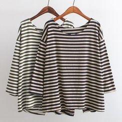 Ainvyi - Stripe Slit Long-Sleeve Top