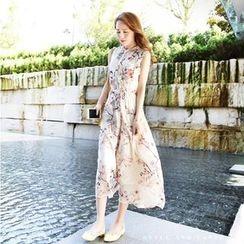 Shimi - Floral Print Sleeveless Midi Chiffon Dress