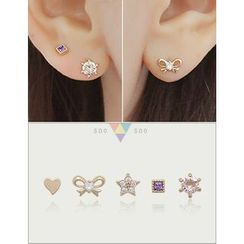 soo n soo - Set of 5: Stud Earrings (Single)