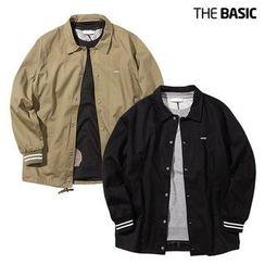 Seoul Homme - Contrast-Trim Snap-Button Jacket