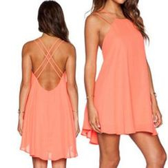 Eloqueen - Cross-Strap Open-Back Chiffon Sundress