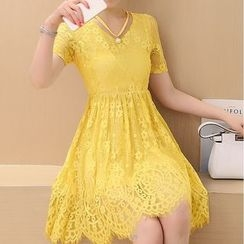 Emmy - Short Sleeve A-line Lace Dress