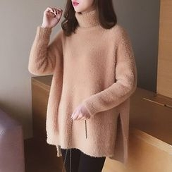 Cocofield - Turtleneck Plain Knit Top