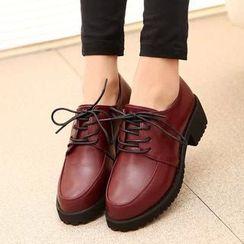 Shoetown - Faux Leather Lace Up Shoes