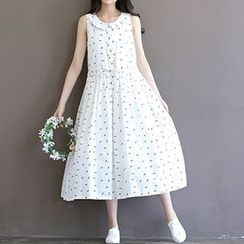 chome - Printed Sleeveless Midi Shirtdress