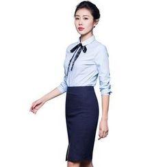 Aision - Set: Long-Sleeve Blouse + Slit-Front Pencil-Cut Skirt