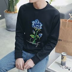 Danjieshi - Floral Embroidered Long-Sleeve T-Shirt