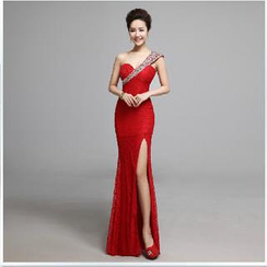 Posh Bride - One-Shoulder Rhinestone Lace Sheath Evening Gown