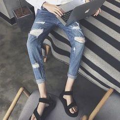 Danjieshi - Distressed Slim-Fit Jeans