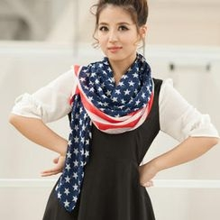 Cuteberry - Flag-Print Chiffon Scarf
