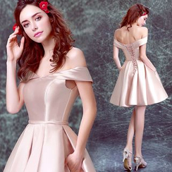 Angel Bridal - Off-Shoulder Satin Mini Prom Dress